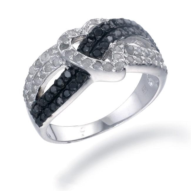 Sterling Silver 7/8ct TDW Black and White Diamond Heart Ring (I-J, I2-I3)