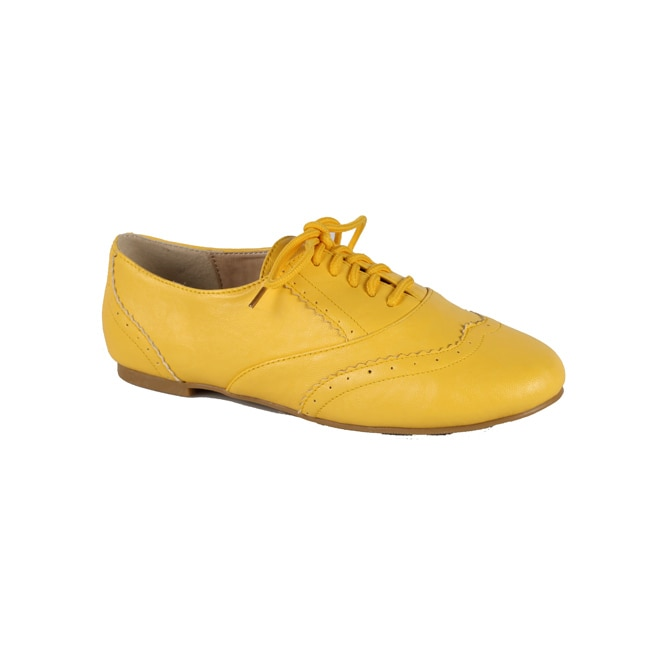Modesta by Beston Women's 'Maya-04' Mustard Lace-up Oxfords