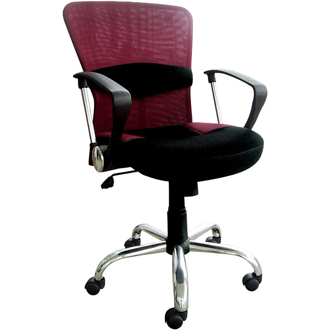 Lindsay Burgundy/ Black Mesh Pneumatic Lift Office Chair