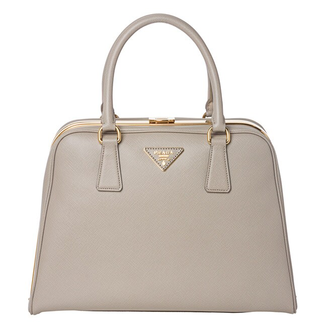 Prada Taupe Saffiano Leather Pyramid Frame Bowler Bag - 14362558 ... - prada frame bag black