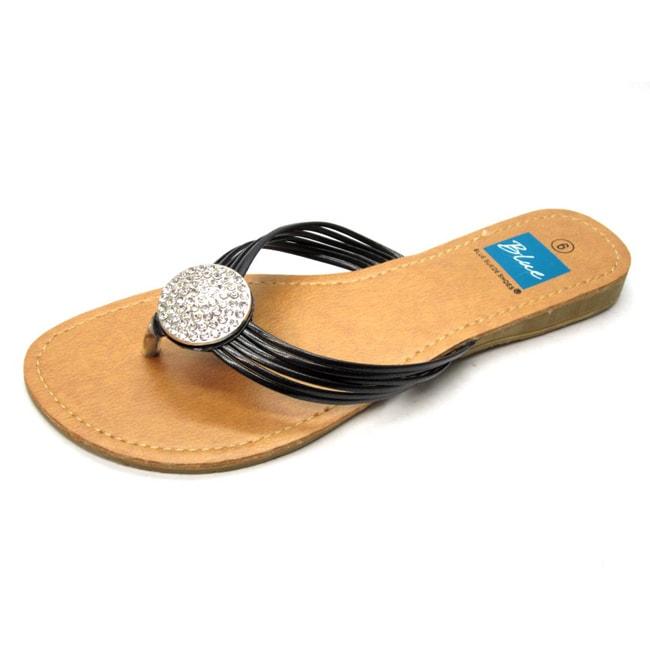 Blue Women's 'Ovastone' Black Thong Sandals