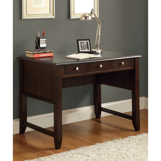 Cappuccino Solid Wood 3 Drawer Desk