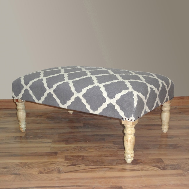 nuLOOM Hand Upholstered Moroccan Trellis Grey Wood Bench