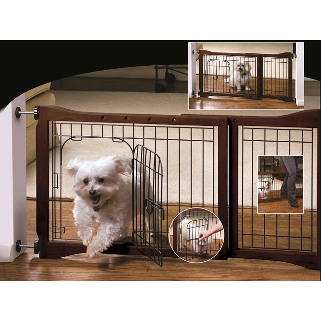 Adjustable Metal and Sturdy Wooden Pet Gate with Door for Small Dogs
