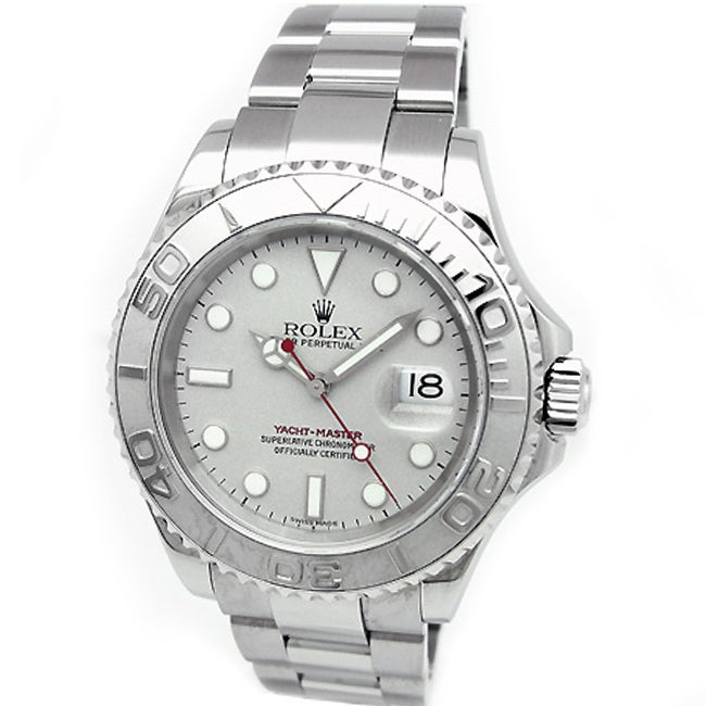 Pre-Owned Gents Rolex Oyster Perpetual Stainless Steel Yachtmaster Watch with Platinum Dial