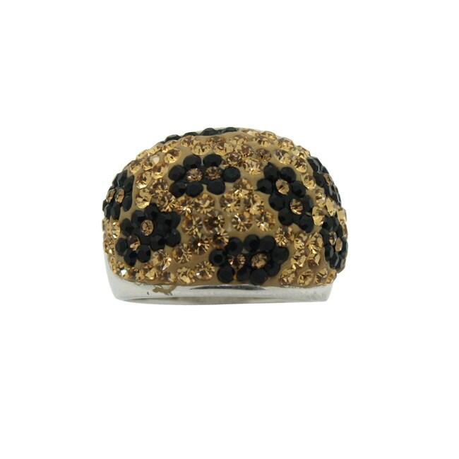 Gioelli Silver Rhodium-plated Crystal Flower Ring