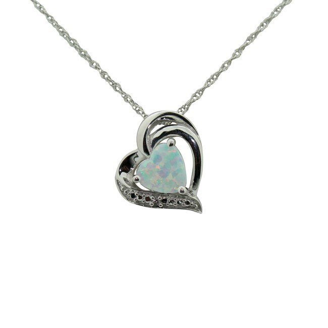 Gioelli Sterling Silver Created Opal and CZ Heart Pendant