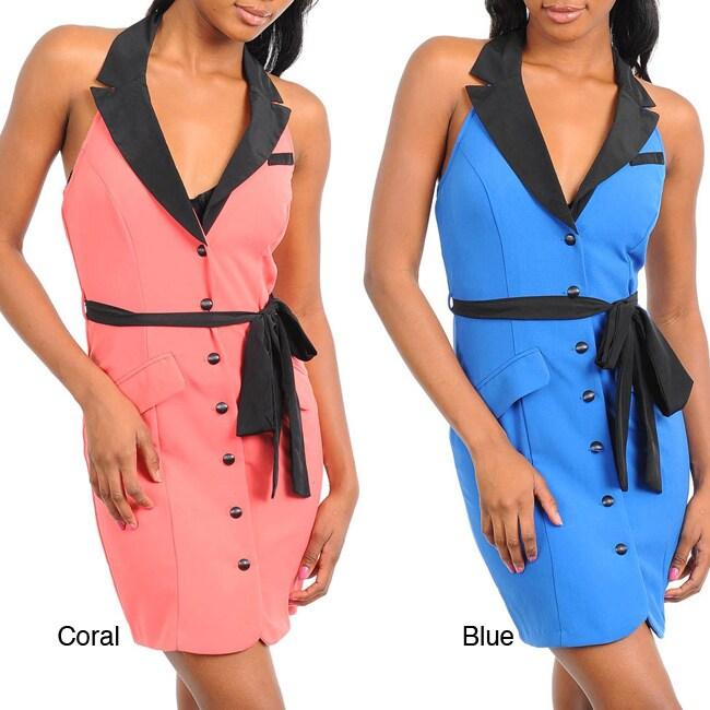 Stanzino Women's Sleeveless Collared Dress with Sash
