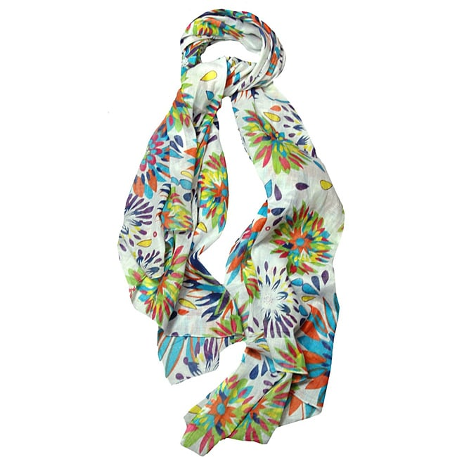 Peach Couture Women's Floral Lightweight Scarf