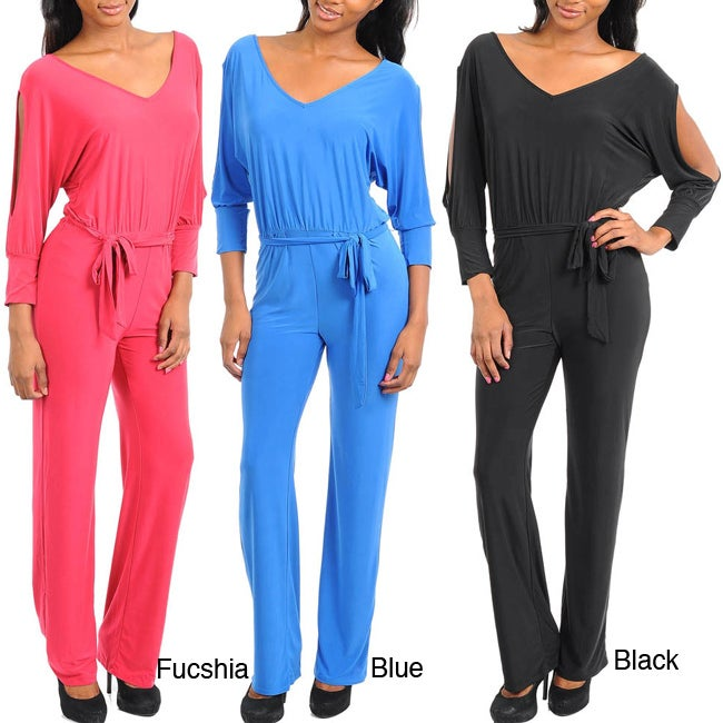 Stanzino Women's V-neck Long Sleeve Jumpsuit with Sash