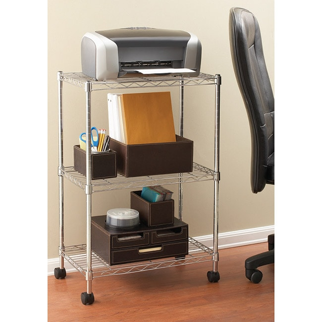 Seville Chrome-finished Steel Three-tier Utility Storage Cart