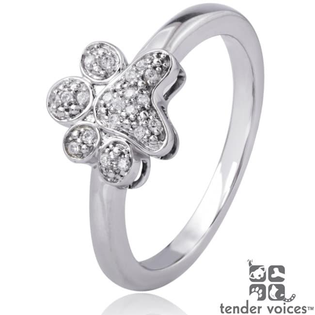 ASPCA Tender Voices Silver 1/10ct TDW Diamond Paw Ring (I-J, I2-I3)