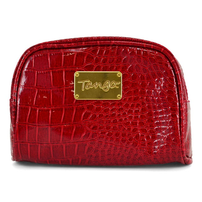 Tango Red Polyester and Nylon Crocodile Scoop Travel/Cosmetics Pouch