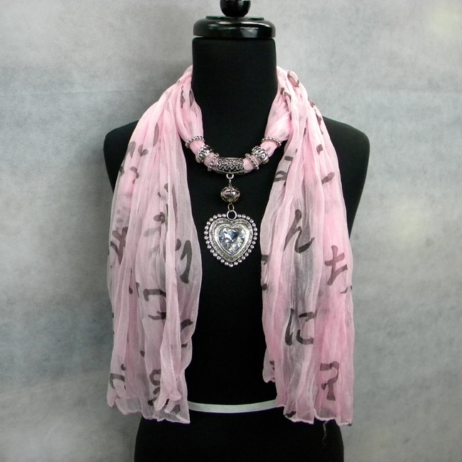 Fashion Jewelry Scarf Pink Print with Silver and Crystal Heart Pendant