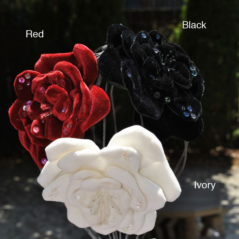 Bellarisa Designs Velvet Sequin Flower Hair Clip