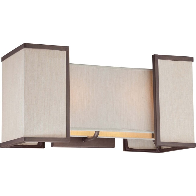 Labyrinth 2 Light Henna Bronze with Khaki Fabric Shades Wall Sconce