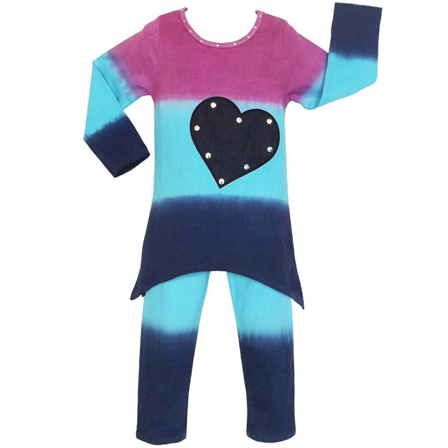 AnnLoren Girls' 2-piece Dip-dye Heart Tunic/ Leggings