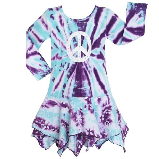 AnnLoren Girls' Blue/ Purple Tie-dye Hanky Hem Batik Dress