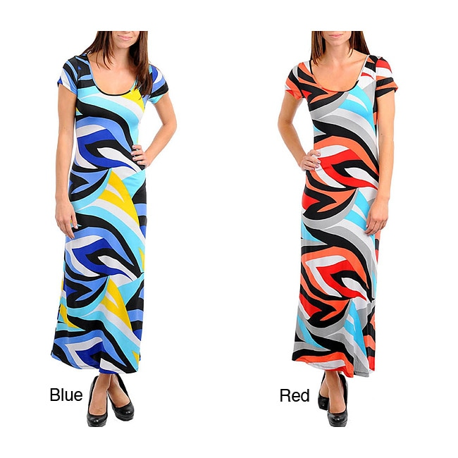 Stanzino Women's Short Sleeve Geometric Print Long Dress