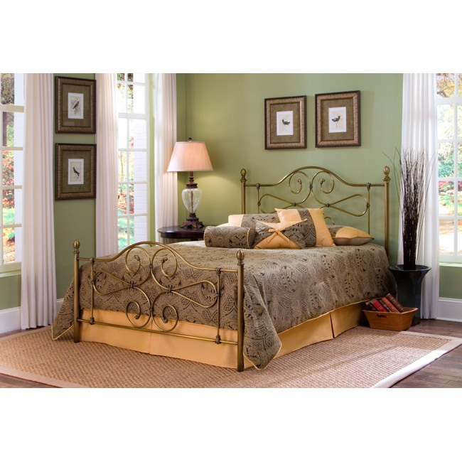 Fashion Bed Group Hayley King Size Antique Brass Plated Bed with Frame