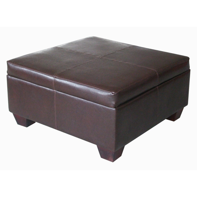 Espresso synthetic leather square storage bench ottoman coffee table 14485439 Square leather coffee table