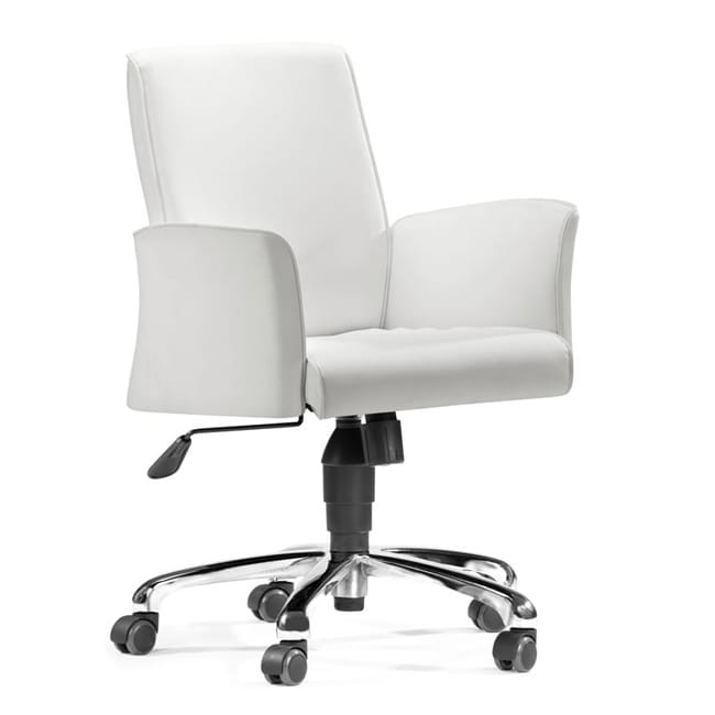 Zuo Metro White Adjustable Office Chair