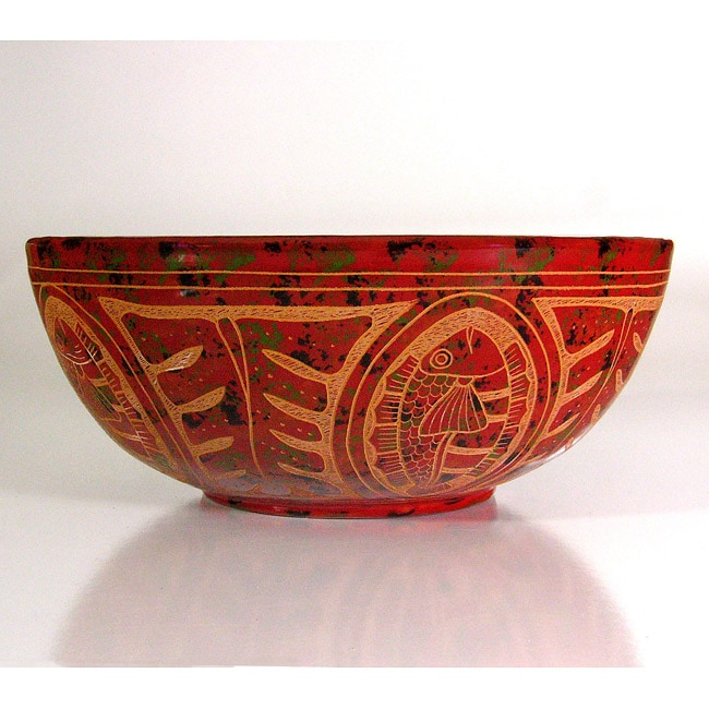 Fishes and Leaves Decorative Ceramic Bowl (Nicaragua)