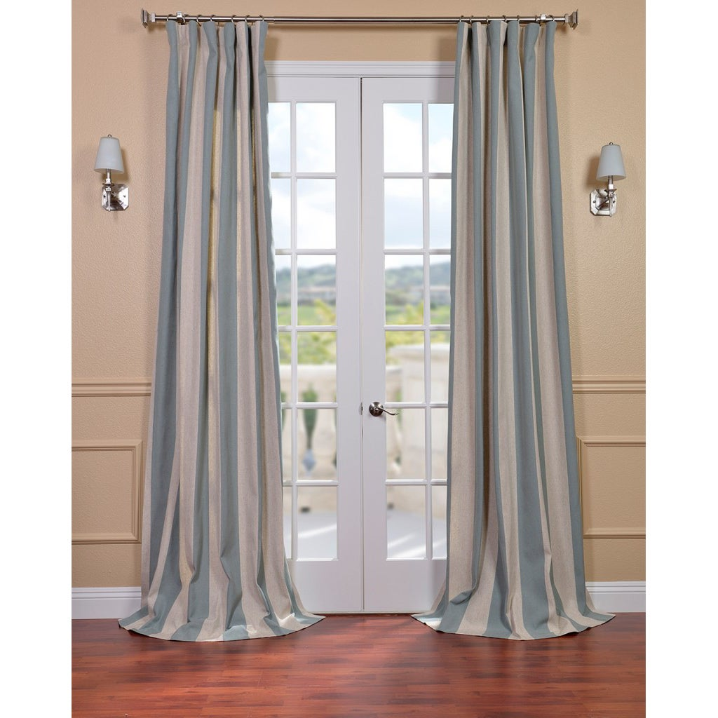 Veranda Seafoam Stripe Linen Blend Curtain Panel
