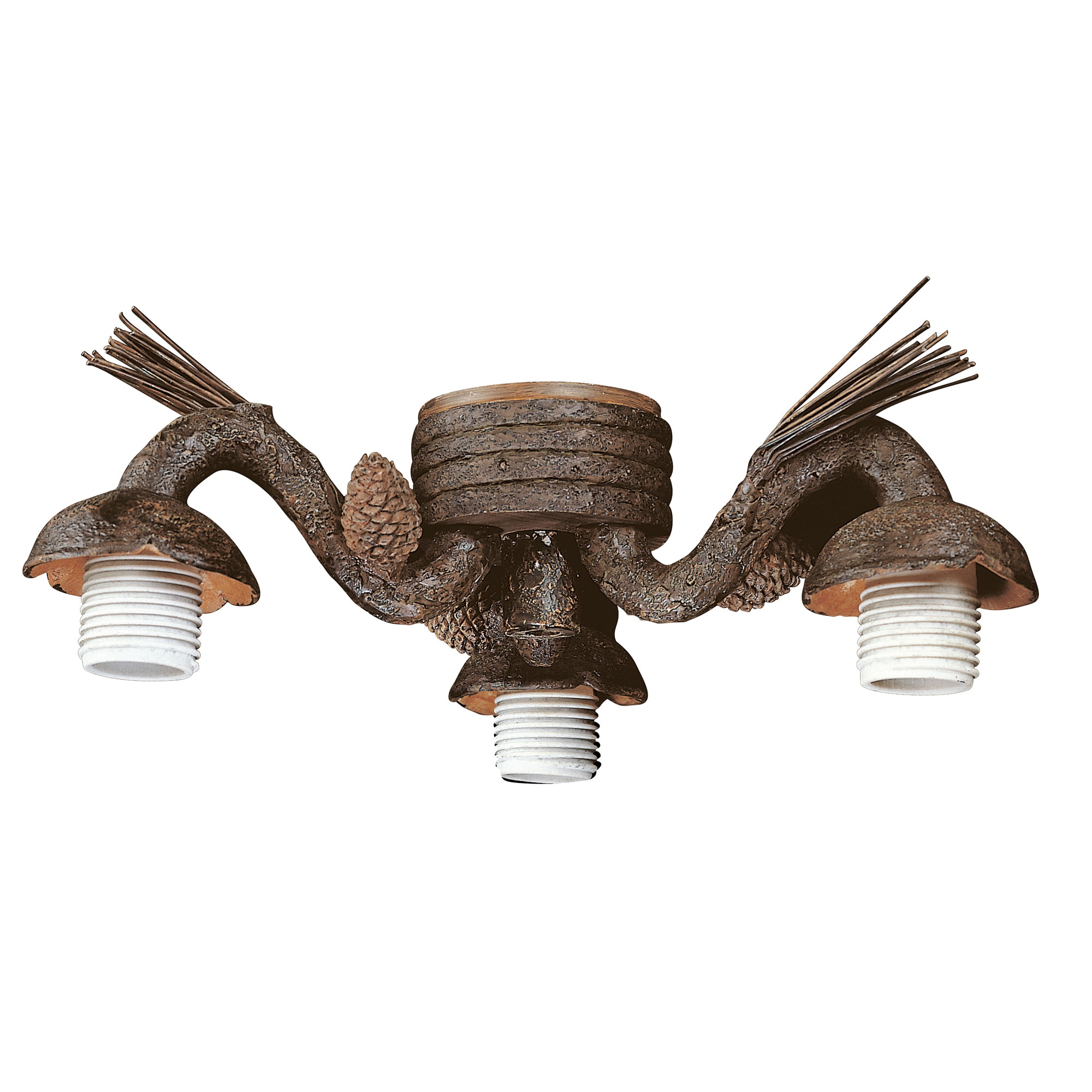 Three Light Old World Leather Ceiling Fan Light Kit