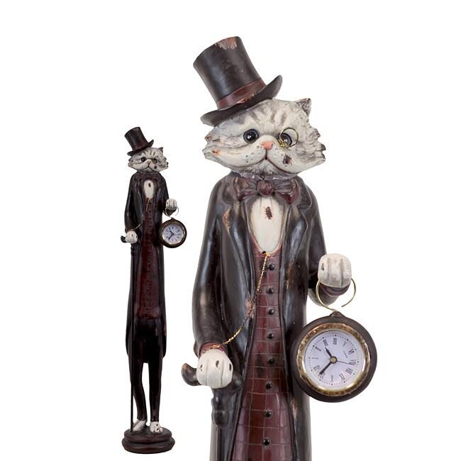 Urban Trend Resin Cat with Clock Sculpture