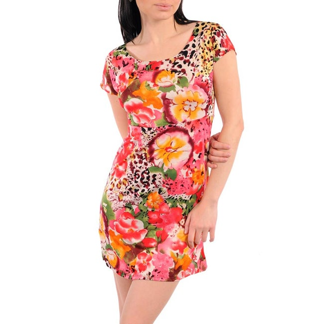 247 Frenzy Junior's Coral Flowers Mini Dress