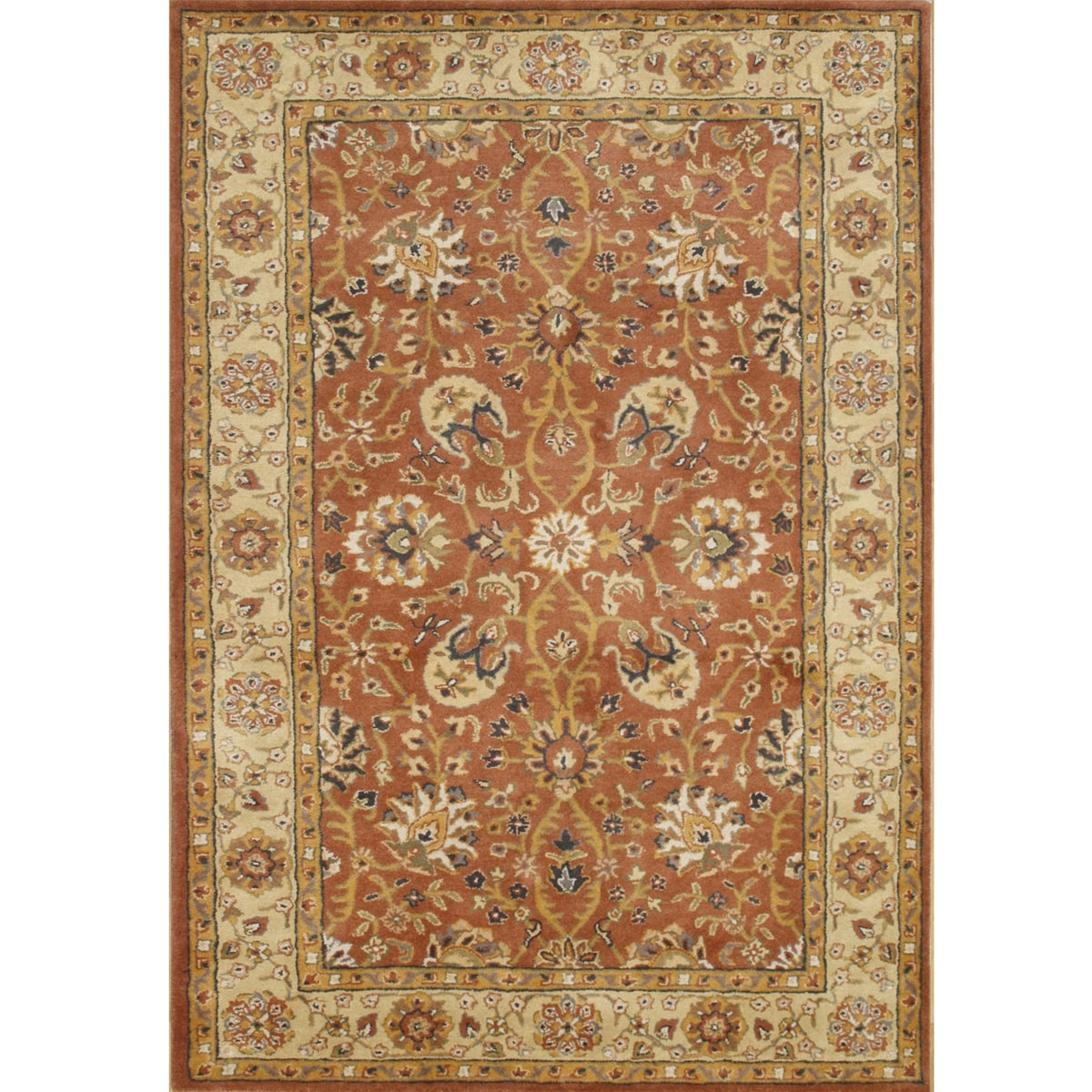 Handmade TajMahal Orange Wool Rug (8' x 10')