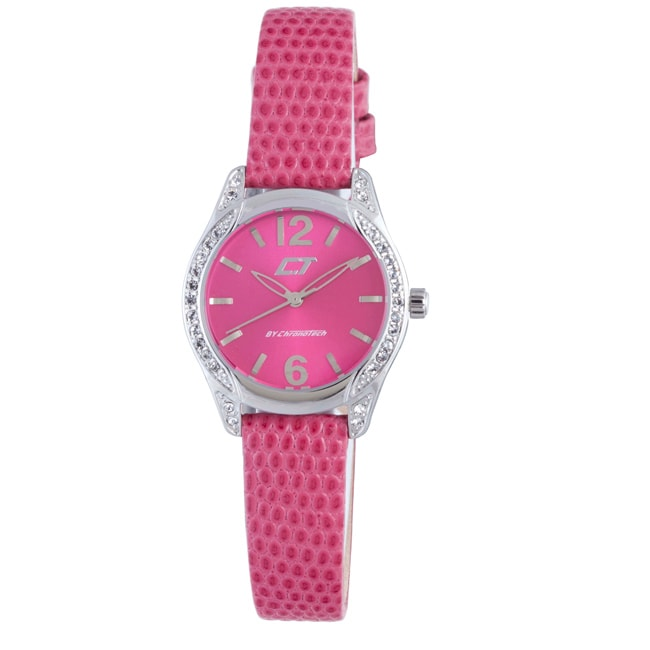 Eziba Collection Chronotech Women's Hot Pink Dial Crystal Bezel Genuine Leather Watch at Sears.com