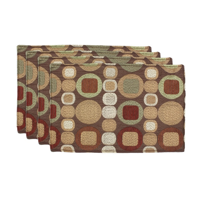 Oakley Spice-Slam Dunk Olive Geometric Placemats (Set of 4)