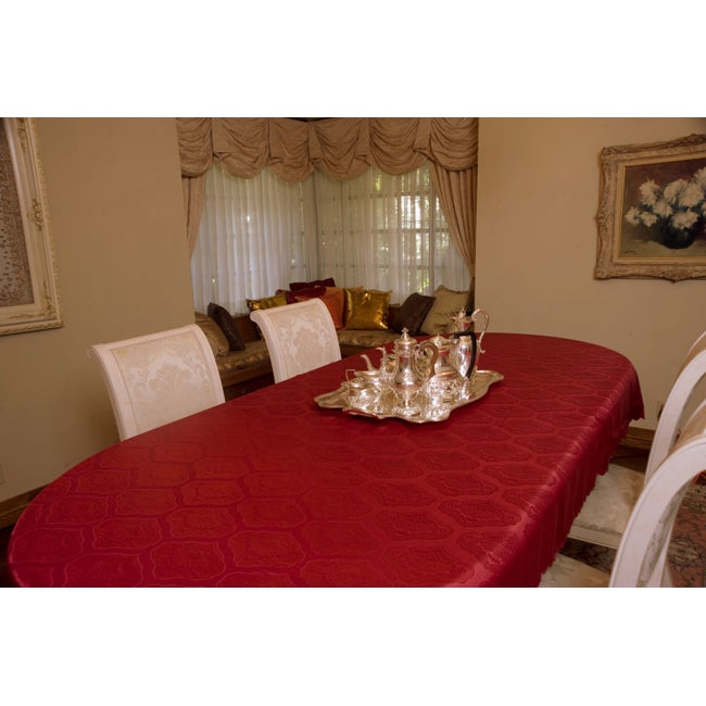 Prestige Red on Red Shell Jacquard Washable Tablecloth With Seamless Scallop Trim