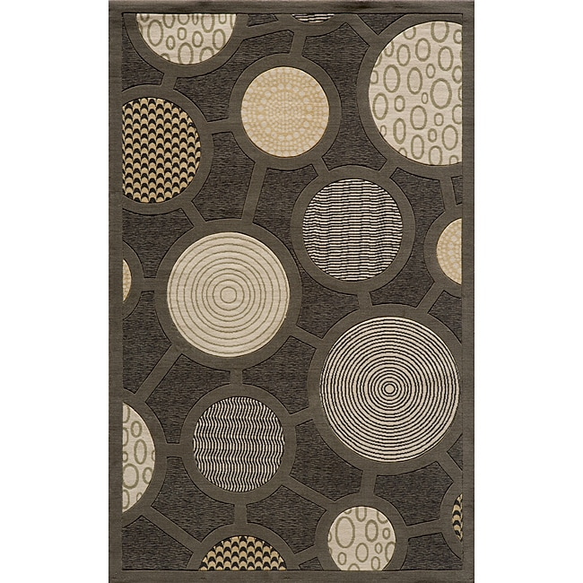 Soho Fashion Power-Loomed Charcoal Wool Rug (3' x 5')