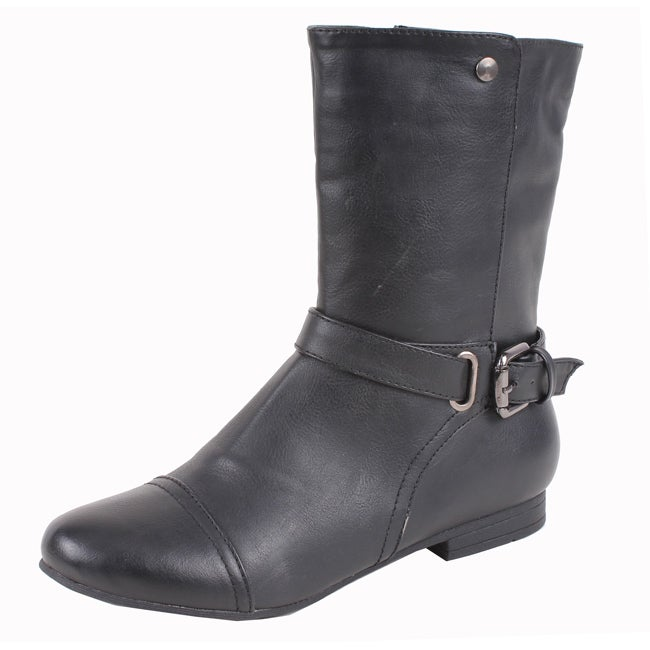 Elegant by Beston Women's 'Meley-2' Black Buckle Boots