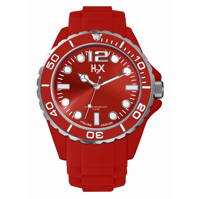 Haurex Italy Men's Reef Red Soft Rubber Strap Watch