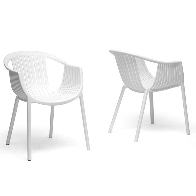 Grafton White Plastic Stackable Modern Dining Chairs (Set of 2)