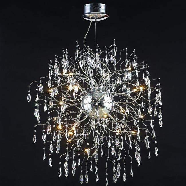 Modern Design 32-light 43-inch Polished Chrome Crystal Hanging Pendant