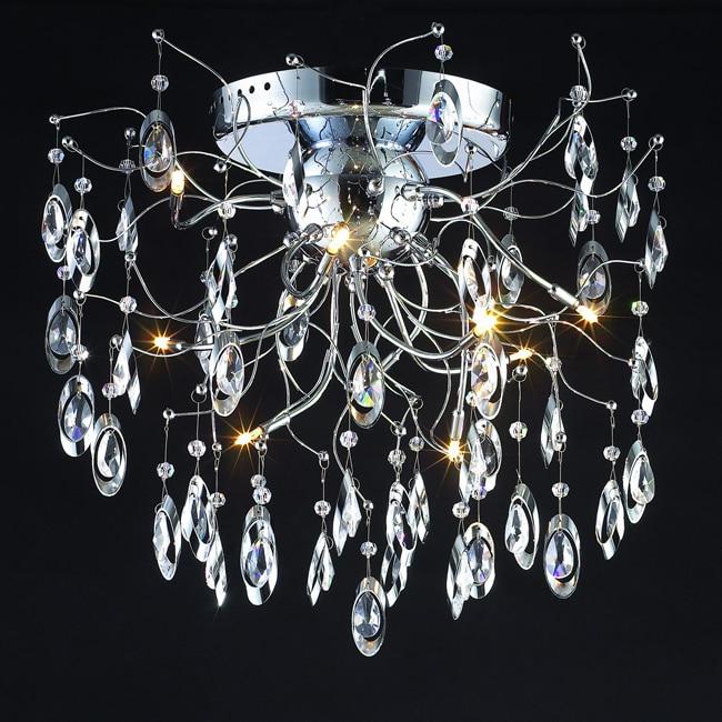 Modern Design 9-light 26-inch Polished Chrome Crystal Flush Mount Ceiling Fixture