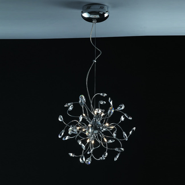 Joshua Marshal Home Collection Modern 12-light Chrome Crystal Adjustable Hanging Pendant