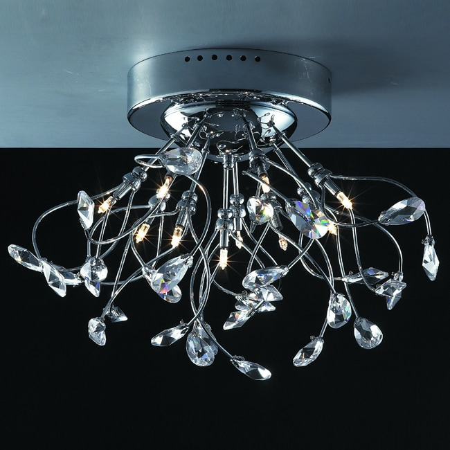 Joshua Marshal Home Collection Modern 10-light Chrome Crystal Encompassed Flush Mount Ceiling Fixture