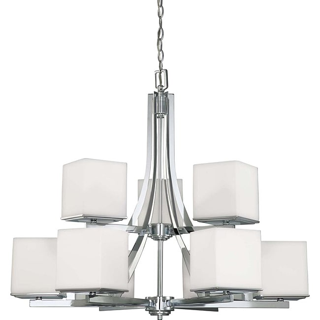 Bento Chrome with Satin White 9-light Two-tier Chandelier
