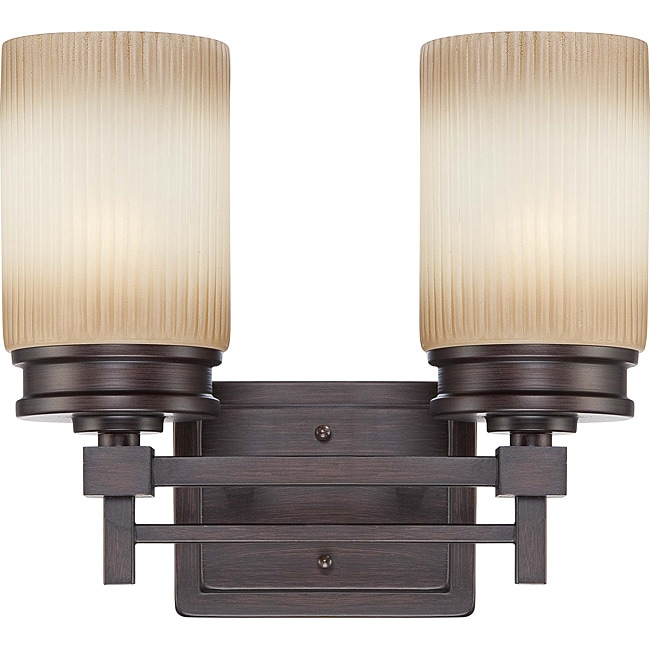 Wright Bronze with Amaretto Glass 2-light Vanity Fixture