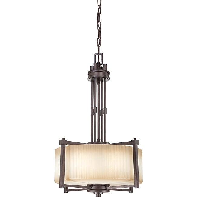 Wright Bronze with Amaretto Glass 3-light Pendant