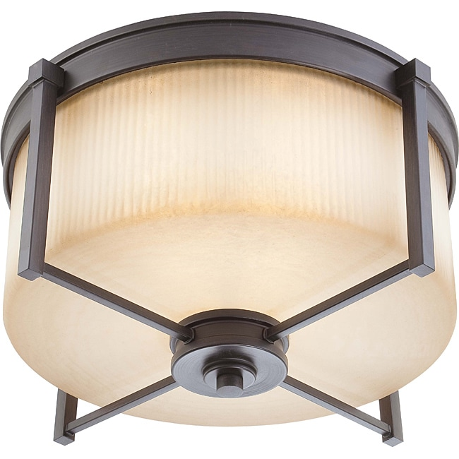 Wright Bronze with Amaretto Glass 3-light Large Flush Fixture