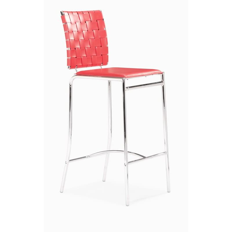 Criss Cross Red Counter Chair (Set of 2)