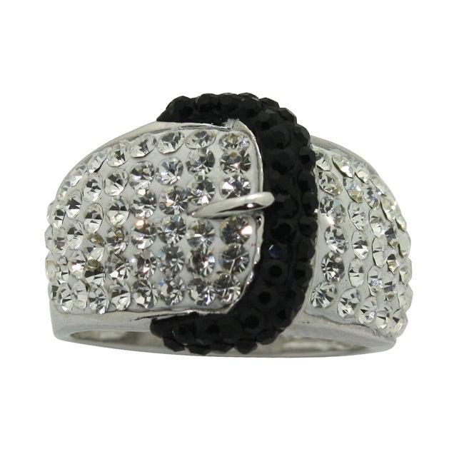 Gioelli Silver Rhodium Plated Crystal Black Buckle Ring