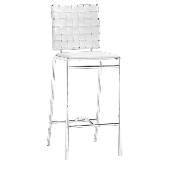 Zuo Criss Cross White Counter Chairs (Set of 2)